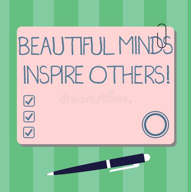 Skriva anmärkningen som visar härliga meningar för att inspirera andra Affärsfotoet som ställer ut positiv visning, ger inspirati stock illustrationer