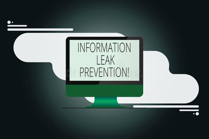 Skriva anmärkningen som visar informationsläckaförhindrande Affärsfoto som ställer ut förhindrande kritisk information till utflö vektor illustrationer