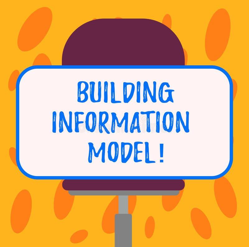 Skriva anmärkningen som visar informationsmodellen om byggnad Affärsfoto som ställer ut den Digitala framställningen av den fysis royaltyfri illustrationer