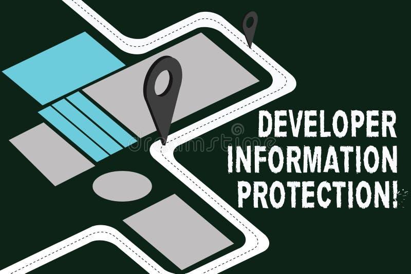 Skriva anmärkningen som visar informationsskydd om bärare Att ställa ut för affärsfoto skyddar viktig information från royaltyfri illustrationer