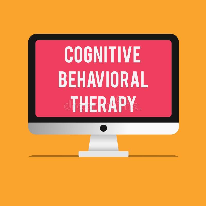 Skriva anmärkningen som visar kognitiv beteende- terapi Affärsfoto som ställer ut psykologisk behandling för mentalt vektor illustrationer