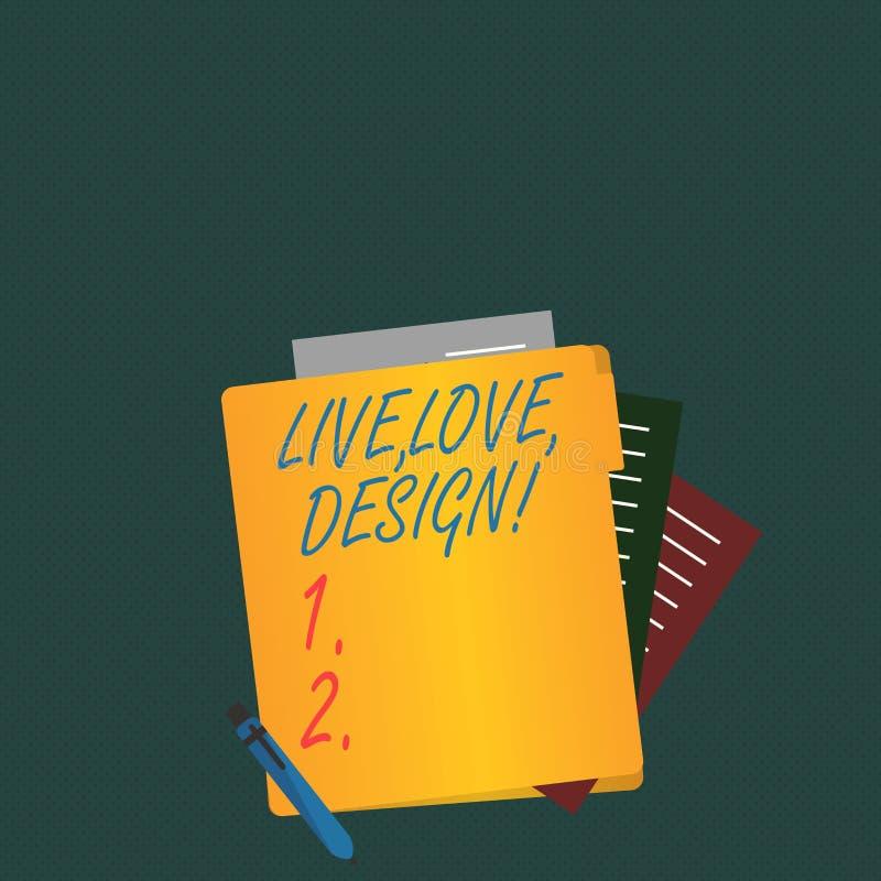 Skriva anmärkningen som visar Live Love Design Att ställa ut för affärsfoto finns mjukhet skapar passionlust vektor illustrationer