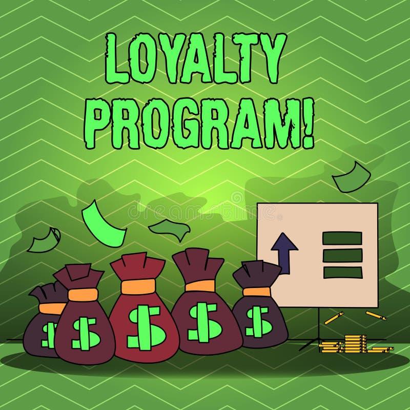 Skriva anmärkningen som visar lojalitetprogram Affärsfotoet som ställer ut strukturerad marknadsföring, ger incitamentrepetit vektor illustrationer