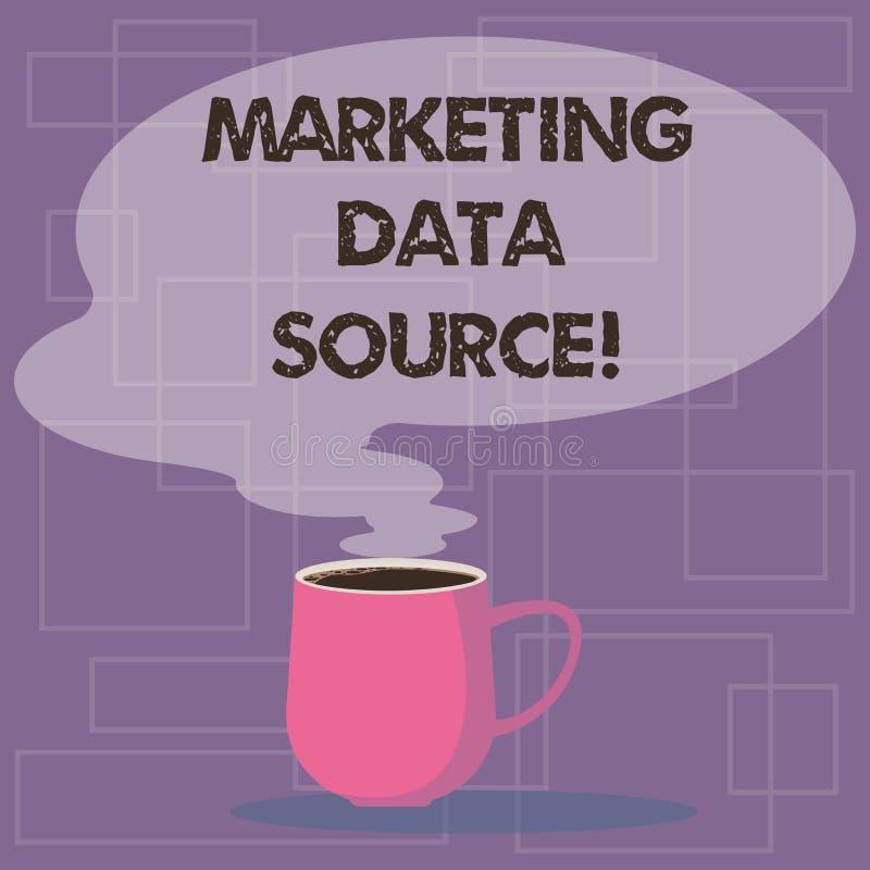Skriva anmärkningen som visar marknadsföringsdatakälla Affärsfotoet som ställer ut anslutningsaktivering till en databas från en  stock illustrationer