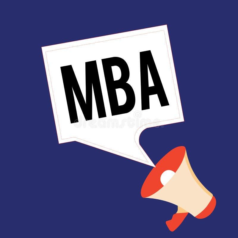Skriva anmärkningen som visar Mba Affärsfoto som ställer ut avancerad grad i affärsfält liksom administration och stock illustrationer