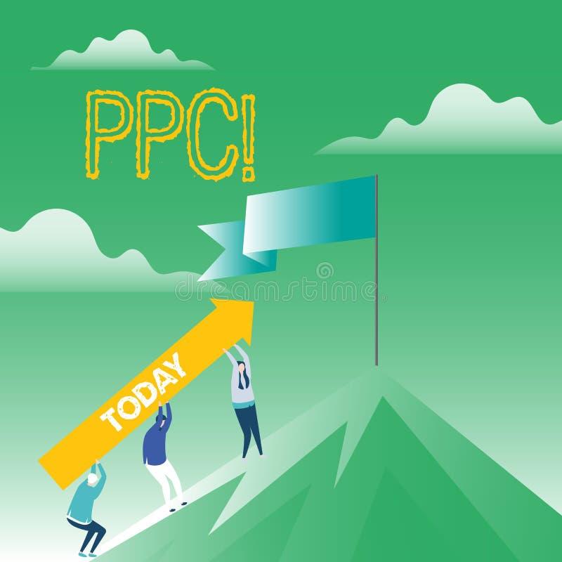 Skriva anmärkningen som visar Ppc Affärsfoto som ställer ut lön per klicken som annonserar direkt trafik för strategier till Webs vektor illustrationer