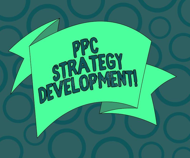 Skriva anmärkningen som visar Ppc-strategiutveckling Affärsfoto som ställer ut för att framkalla en aktionsplan att bygga vikt ef royaltyfri illustrationer