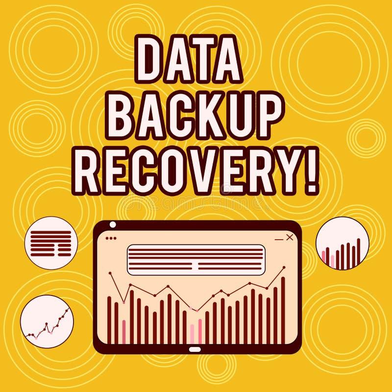 Skriva anmärkningen som visar reserv- återställning för data Affärsfoto som i fall att ställer ut processen av uppbackningdata av royaltyfri illustrationer