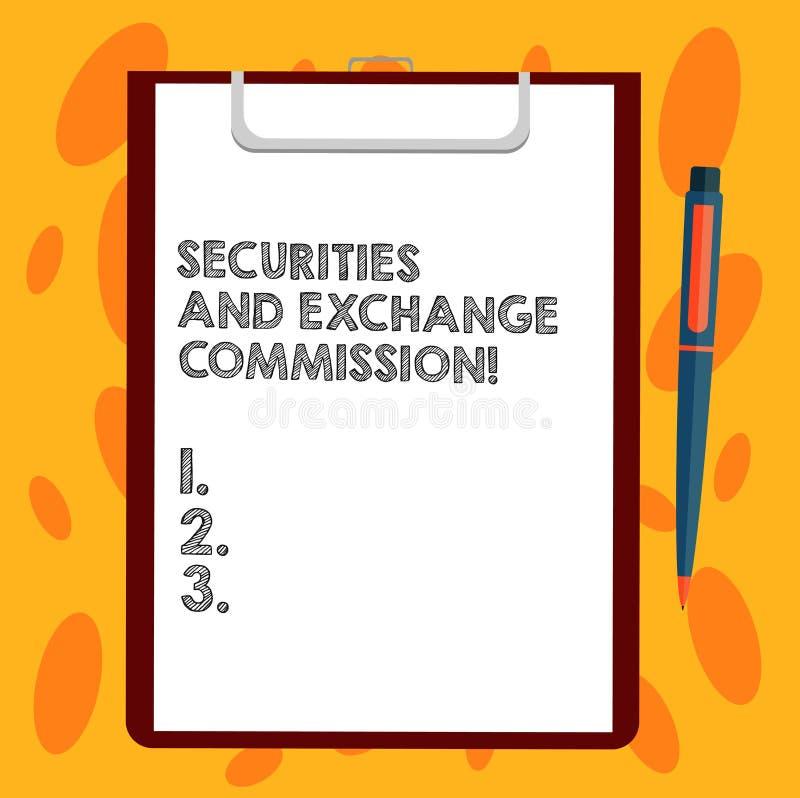 Skriva anmärkningen som visar säkerhets- och utbyteskommissionen Affärsfoto som ställer ut säkerhet som utbyter kommissioner royaltyfri illustrationer
