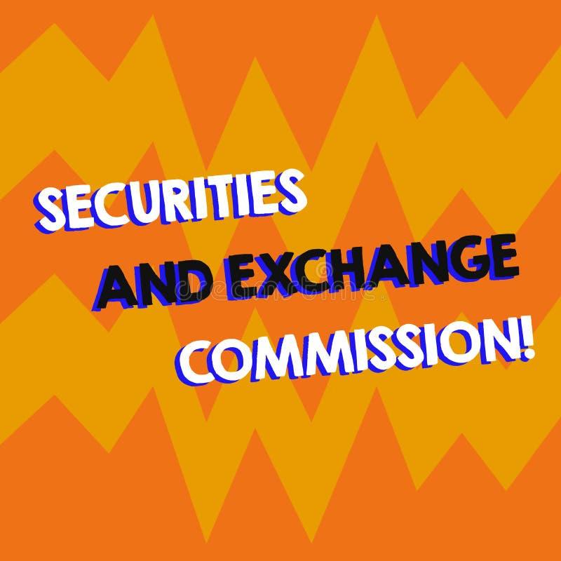 Skriva anmärkningen som visar säkerhets- och utbyteskommissionen Affärsfoto som ställer ut säkerhet som utbyter kommissioner vektor illustrationer
