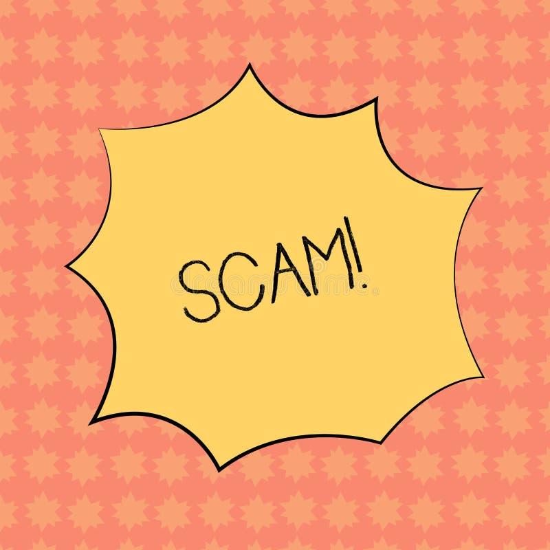 Skriva anmärkningen som visar Scam Affärsfoto som ställer ut ohederligt folk för handlingsbedrägeritrick för framställning av skr royaltyfri illustrationer