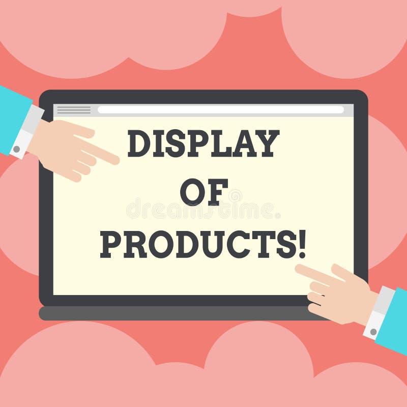 Skriva anmärkningen som visar skärm av produkter Affärsfoto som ställer ut vägen för att tilldra och locka den köpande offentliga stock illustrationer