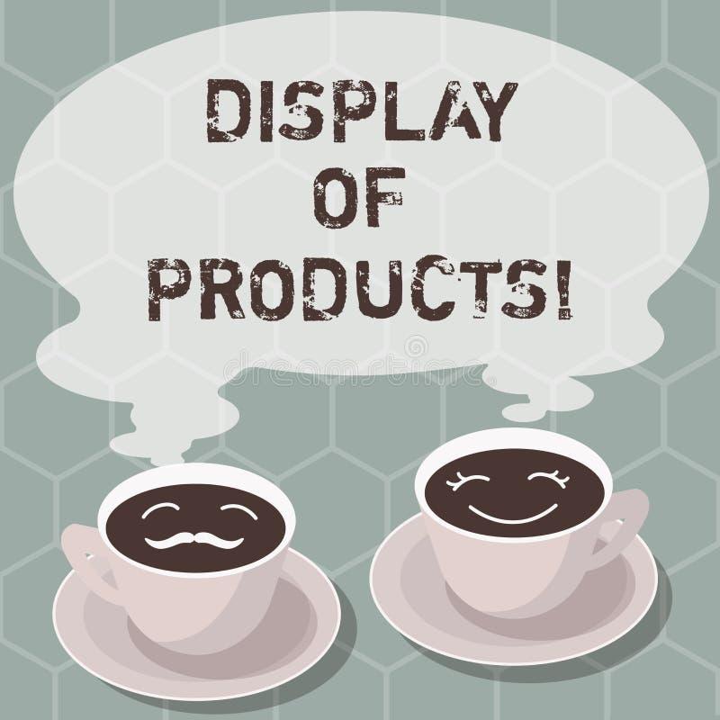 Skriva anmärkningen som visar skärm av produkter Affärsfoto som ställer ut vägen för att tilldra och locka köpande allmänhet som  stock illustrationer