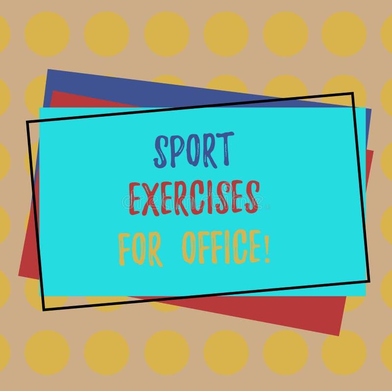 Skriva anmärkningen som visar sportövningar för kontor Affärsfoto som ställer ut att utarbeta i högen för arbetsplatsstagpassform stock illustrationer
