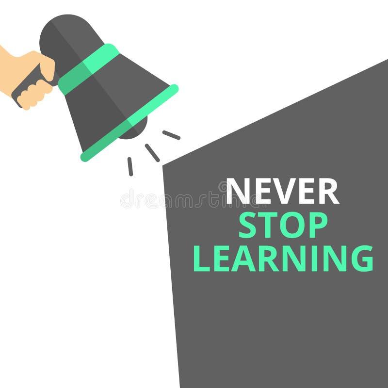 Skriva anmärkningen som visar stoppa aldrig, att lära stock illustrationer