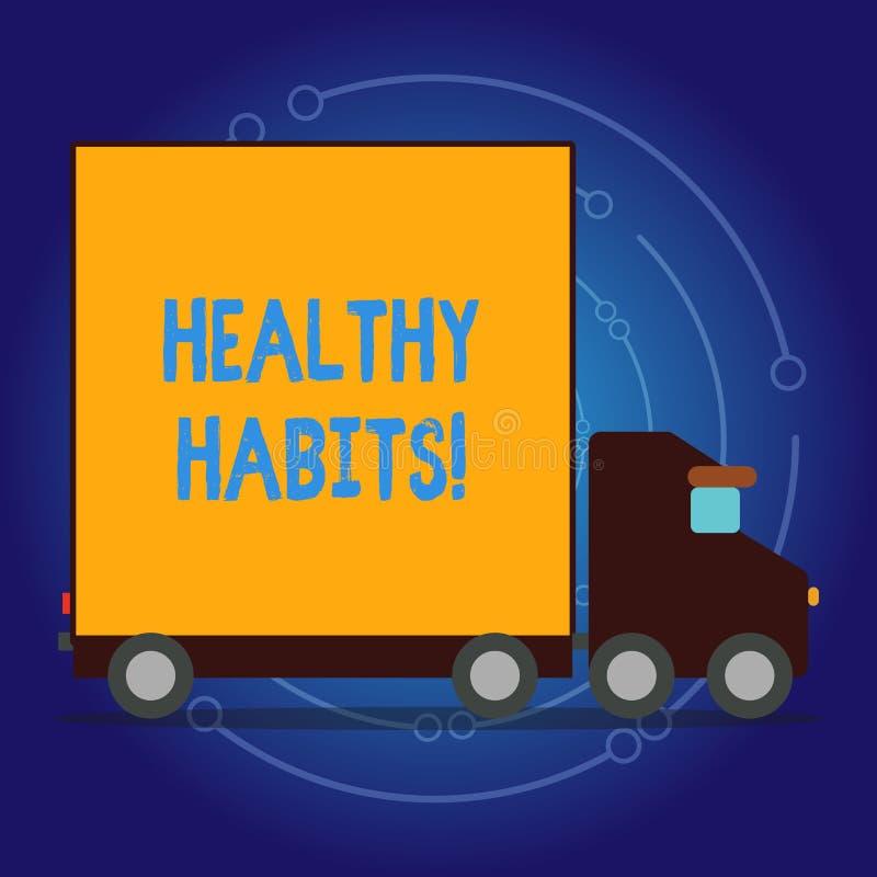Skriva anmärkningen som visar sunda vanor Affärsfotoet som ställer ut bra näring, bantar tar omsorg av honom viktkontroll stock illustrationer
