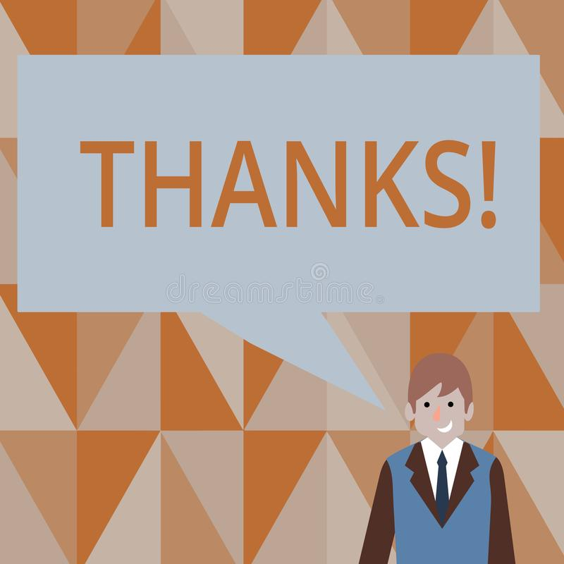 Skriva anmärkningen som visar tack Affärsfoto som ställer ut tacksamhet för gillandehälsningbekräftelse stock illustrationer