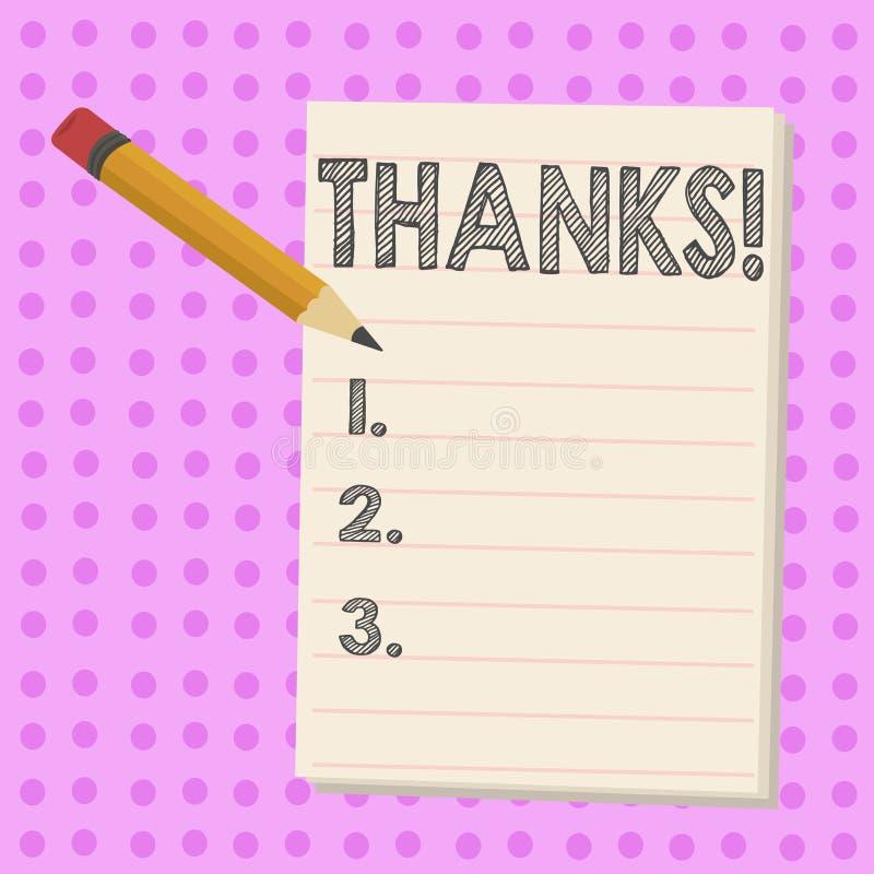 Skriva anmärkningen som visar tack Affärsfoto som ställer ut tacksamhet för gillandehälsningbekräftelse royaltyfri illustrationer