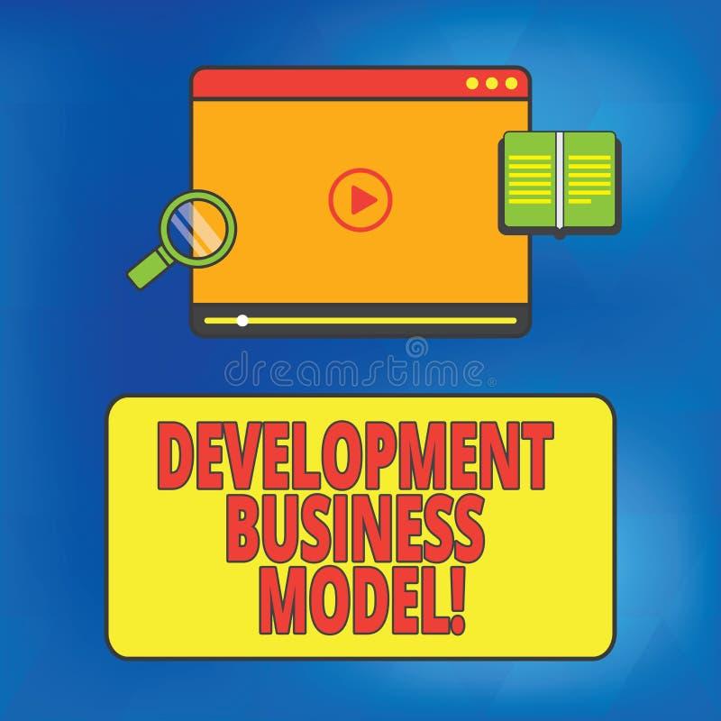 Skriva anmärkningen som visar utvecklingsaffärsmodellen Affärsfoto som ställer ut logisk grund av hur en skapad organisation royaltyfri illustrationer