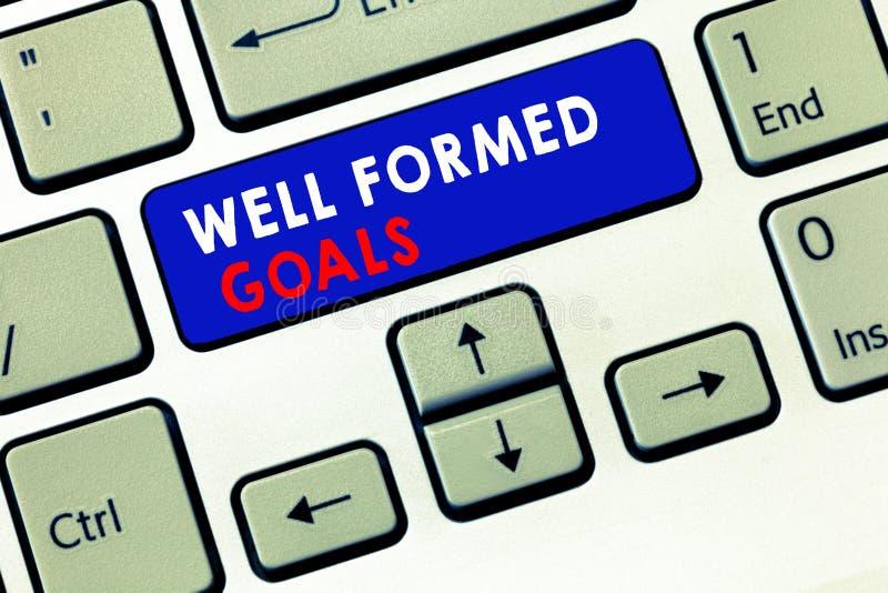 Skriva anmärkningen som visar väl bildade mål Affärsfoto som ställer ut mål eller målet för inre coachning rättframa royaltyfri bild
