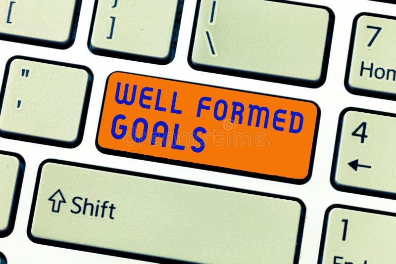 Skriva anmärkningen som visar väl bildade mål Affärsfoto som ställer ut mål eller målet för inre coachning rättframa arkivbilder