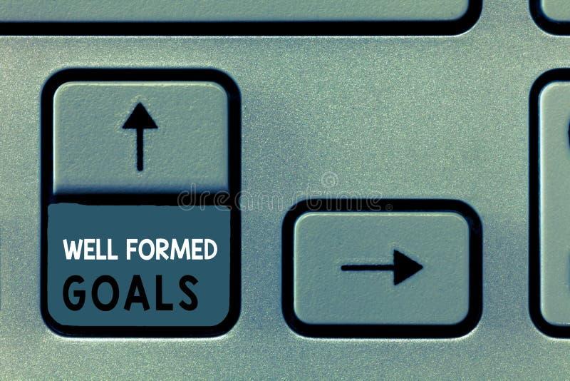 Skriva anmärkningen som visar väl bildade mål Affärsfoto som ställer ut mål eller målet för inre coachning rättframa royaltyfri foto