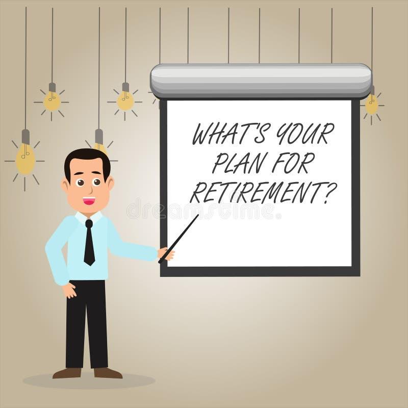 Skriva anmärkningen som visar vilket S ditt plan för Retirementquestion Att ställa ut för affärsfoto tänkte några plan, när du vä stock illustrationer