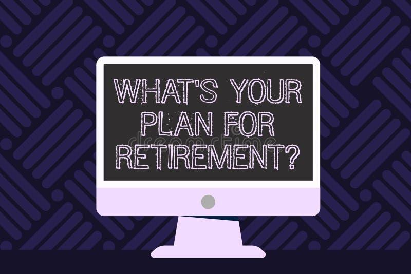 Skriva anmärkningen som visar vilket S ditt plan för Retirementquestion Att ställa ut för affärsfoto tänkte några plan, när du vä vektor illustrationer