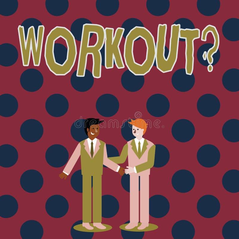 Skriva anmärkningen som visar Workoutquestion Affärsfoto som ställer ut aktivitet för att öva för wellnessbodybuildingutbildning royaltyfri illustrationer