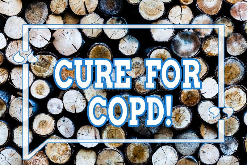 Skriva anmärkningsshowingCuren för Copd Affärsfoto som ställer ut medicinsk behandling över kroniskt hindrande lung- royaltyfri bild