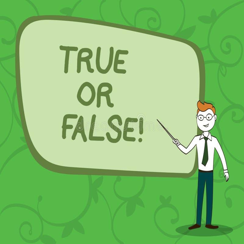 Skriva anmärkningsshowingTrue eller falskt Att ställa ut för affärsfoto avgör mellan ett faktum eller att berätta en lögntvivelfö vektor illustrationer