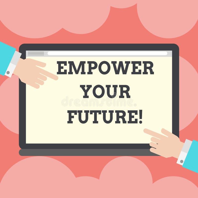 Skriva anmärkningsvisning bemyndiga din framtid Affärsfoto som ställer ut karriärutveckling och anställningsbarhetprogram stock illustrationer