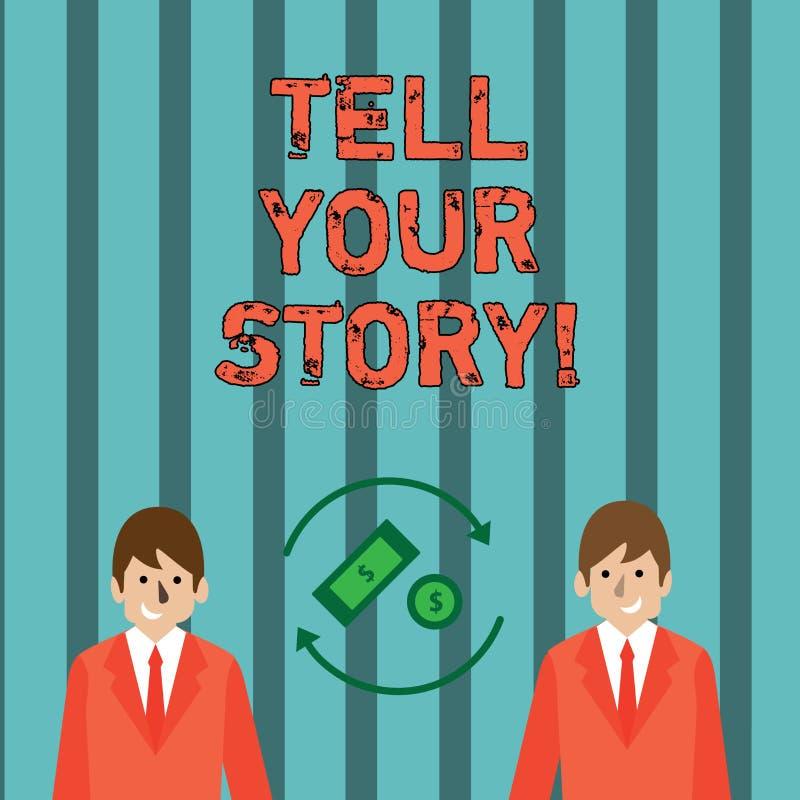 Skriva anmärkningsvisning berätta din berättelse Affärsfoto som ställer ut uttrycka dina känslor som berättar skriva din biografi vektor illustrationer
