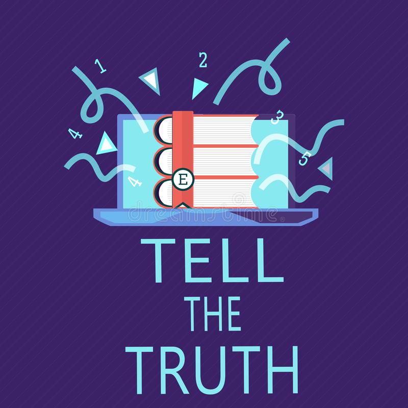 Skriva anmärkningsvisning berätta sanningen Att ställa ut för affärsfoto bekänner något personligt faktum som någon önskar dolde  stock illustrationer