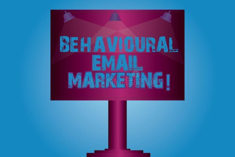 Skriva anmärkningsvisning beteende- Emailmarknadsföring Affärsfoto som ställer ut customercentric avtryckaregrundmessaging royaltyfri illustrationer