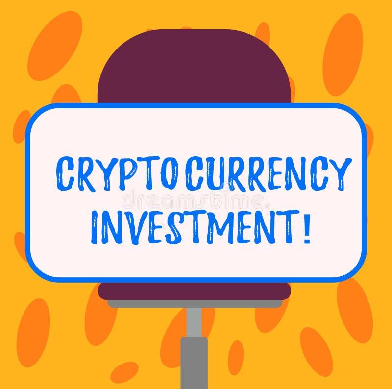 Skriva anmärkningsvisning Crypto valutainvestering Att ställa ut för affärsfoto ska bli ett långsiktigt betrott lager av värde royaltyfri illustrationer