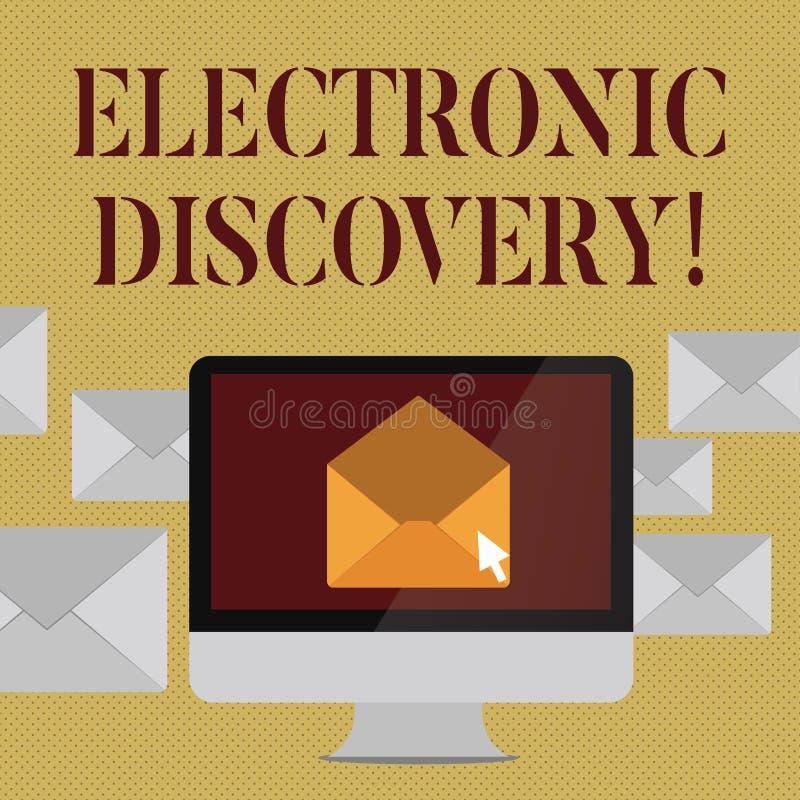 Skriva anmärkningsvisning den elektroniska upptäckten Affärsfoto som ställer ut upptäckten i lagliga förfaranden liksom pro royaltyfri illustrationer