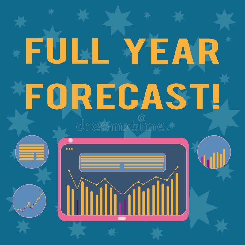 Skriva anmärkningsvisning det fulla fotoet för årsprognosaffär som ställer ut bedömningen av aktuell finansiell perforanalysisce stock illustrationer