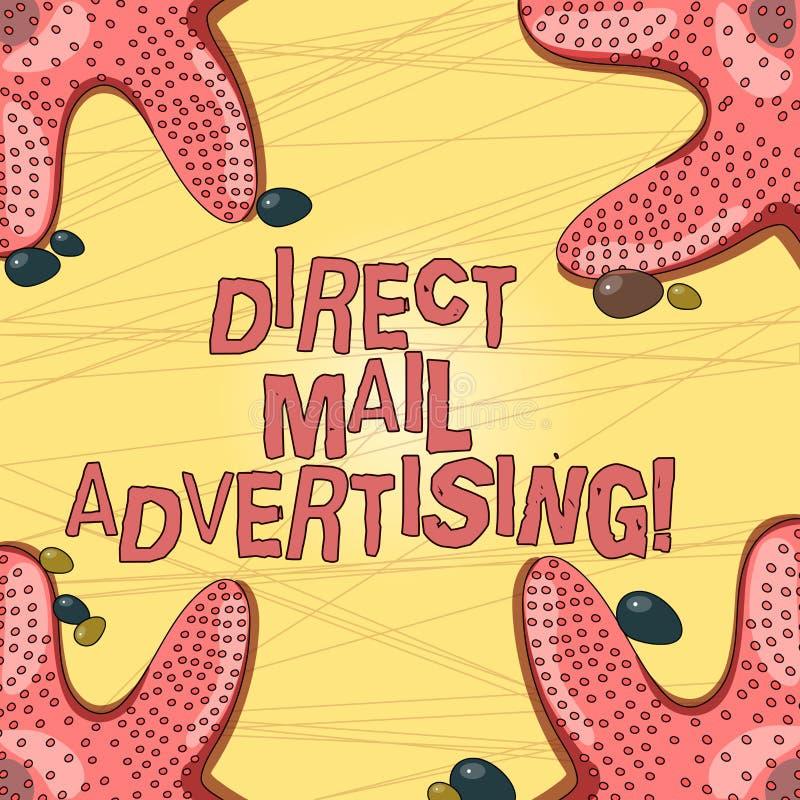 Skriva anmärkningsvisning direkt post som annonserar Att ställa ut för affärsfoto levererar marknadsföringsmaterial till klienten stock illustrationer