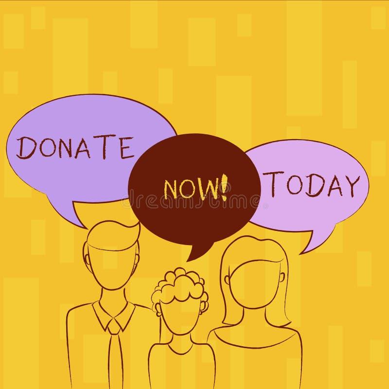 Skriva anmärkningsvisning donera nu Att ställa ut för affärsfoto ger något till välgörenhet är en hjälp för organgivare andra stock illustrationer