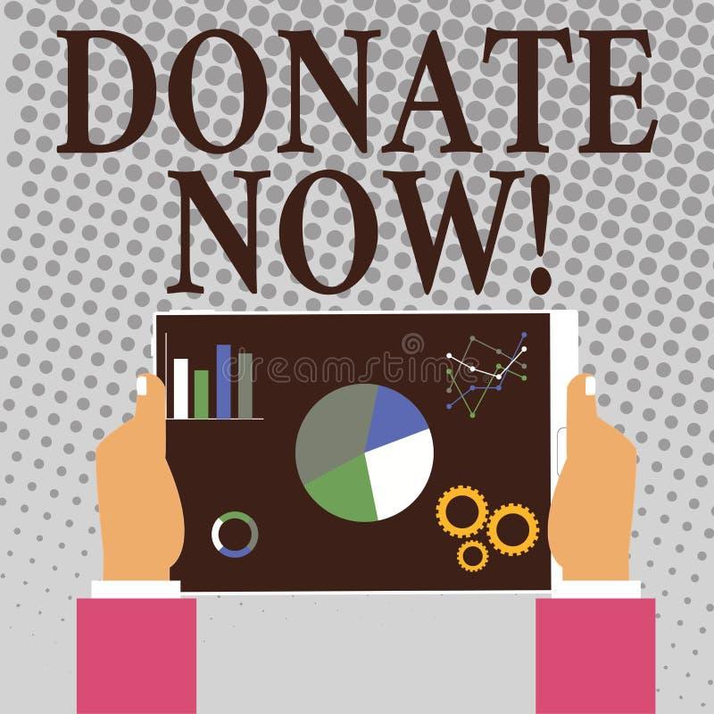 Skriva anmärkningsvisning donera nu Att ställa ut för affärsfoto ger något till välgörenhet är en hjälp för organgivare andra royaltyfri illustrationer