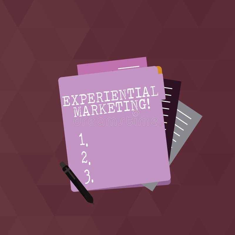 Skriva anmärkningsvisning empirisk marknadsföring Affärsfoto som ställer ut marknadsföringsstrategi som kopplar in direkt royaltyfri illustrationer