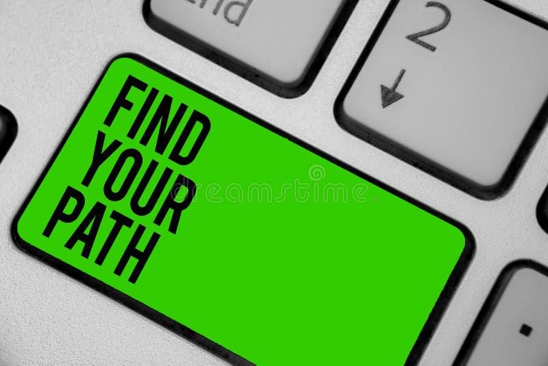 Skriva anmärkningsvisning finna din bana Affärsfoto som ställer ut sökandet för en väg till gräsplan K för tangentbord för framgå royaltyfri illustrationer