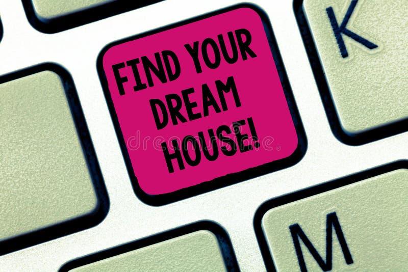 Skriva anmärkningsvisning finna ditt dröm- hus Affärsfoto som ställer ut sökande för den perfekta egenskapshemlägenheten royaltyfri bild
