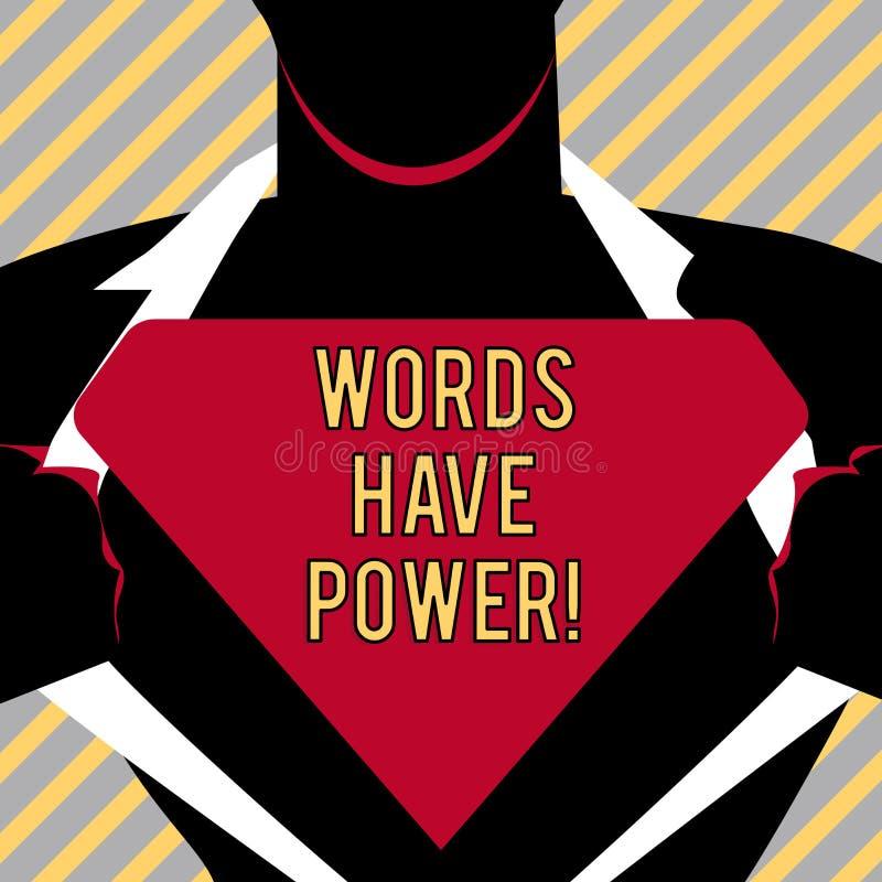 Skriva anmärkningsvisning har ord makt Affärsfotoet som ställer ut meddelanden som, du säger, har kapaciteten att ändra ditt stock illustrationer