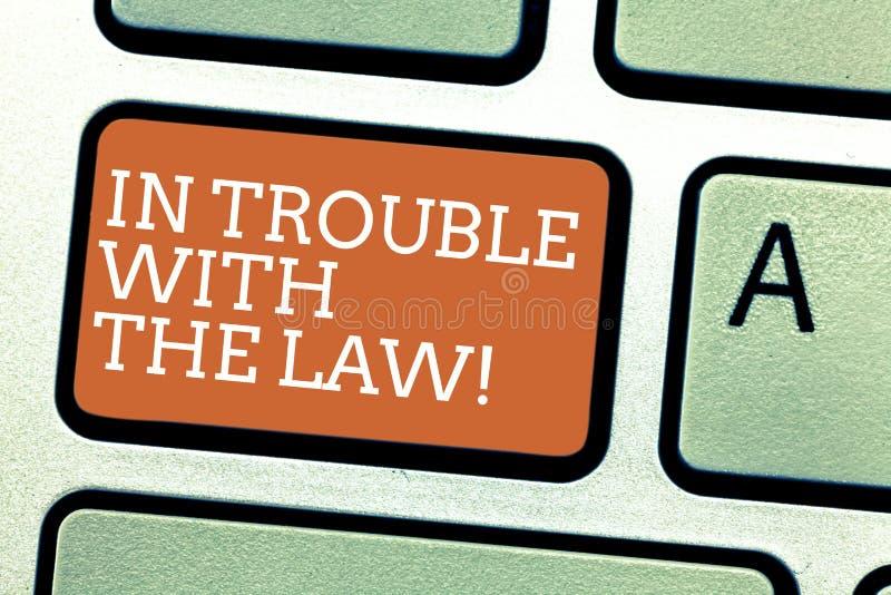Skriva anmärkningsvisning i problem med lagen Affärsfoto som ställer ut rättvisa för brottsliga handlingar för lagliga problem br royaltyfri illustrationer