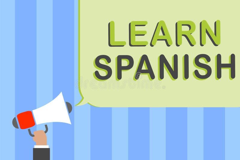 Skriva anmärkningsvisning lär spanjor Affärsfoto som ställer ut översättningsspråk i innehav för man för anförande för Spanien or royaltyfri fotografi