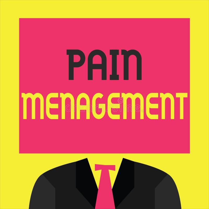 Skriva anmärkningsvisning smärta ledning Affärsfoto som ställer ut en filial av medicin som använder en tvärvetenskaplig inställn stock illustrationer