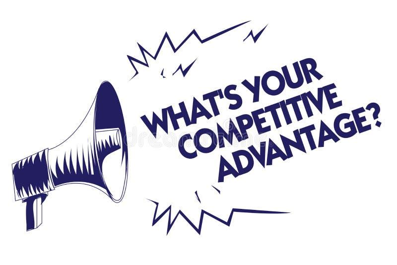 Skriva anmärkningsvisning vilket s är din konkurrensfördelfråga Affärsfoto som ställer ut megapho för blått för plan för marknads vektor illustrationer