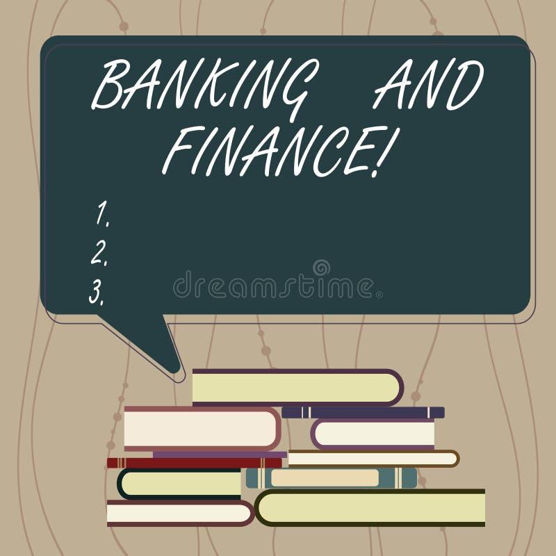 Skriva anmärkningsvisningbankrörelsen och finans Affärsfoto som ställer ut institutioner som ger variation av finansiellt stock illustrationer